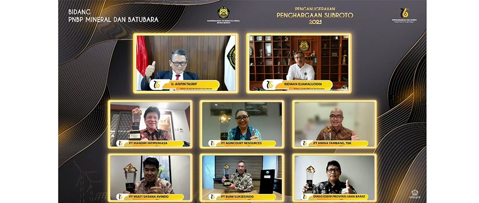 ANTAM Receives Subroto Award, Good Mining Practices Award and Dharma Karya Award from The Ministry of Energy And Mineral Resources In 2021