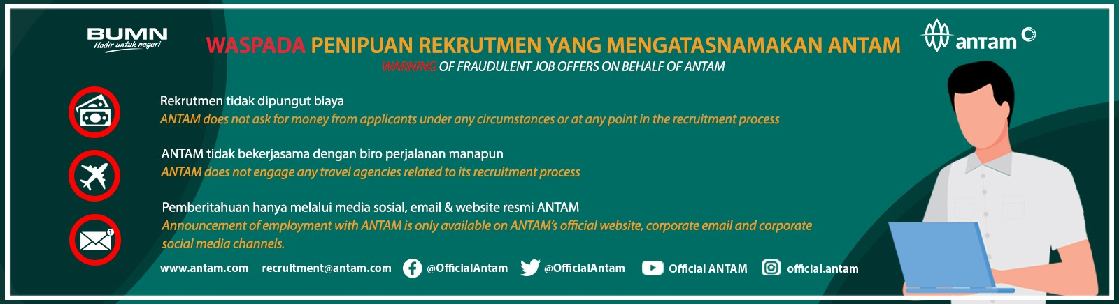 Warning of Fraudulent Job Offers on Behalf of ANTAM