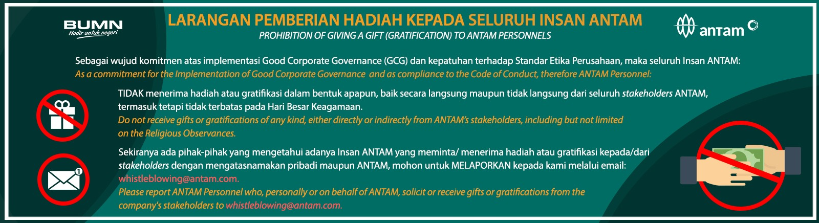 Prohibition of Giving A Gift (Gratification) to ANTAM Personnels